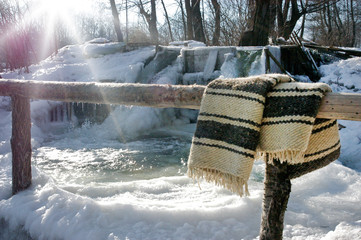 Frozen Romanian traditional stream whirlpool