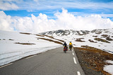 two bikers in high mountains, Norway