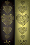 I love you filigree banners in vector format. poster