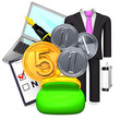 PurseAndBusinessItemWith5+3Coins