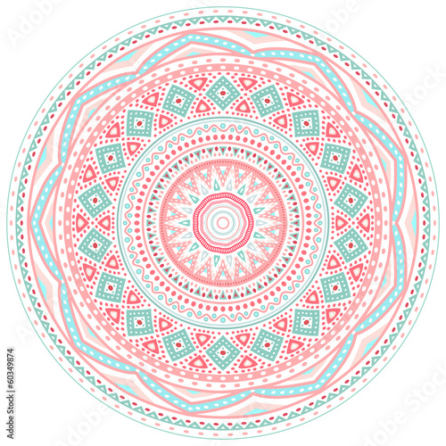 Decorative pink and blue round pattern frame - 60349874