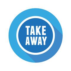 Take away sticker label flat design