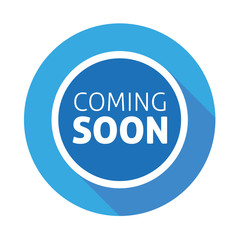 Coming soon button blue flat design