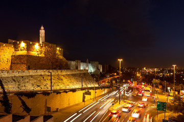 Tower of David and traffic on Jaffa street in Jerusalem