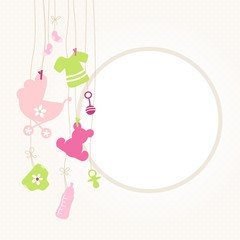 Baby Card Hanging Symbols Girl Retro Dots
