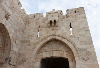 Top of the Jaffa gate in old city Jerusalem