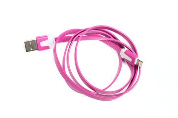 Folded pink USB cable for smartphone