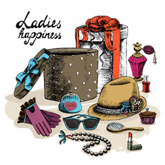 Women's accessories from open gift box