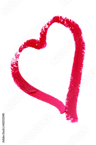 Heart painted with lipstick