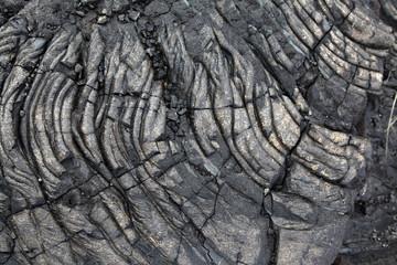 Solidified black lava rock