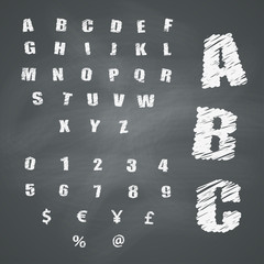Alphabet and Symbols on Chalkboard