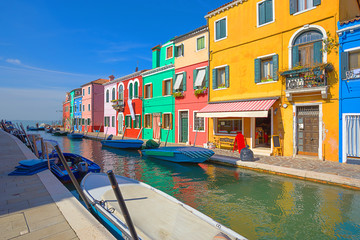 multicolored houses on Burano island. Venice. Italy.