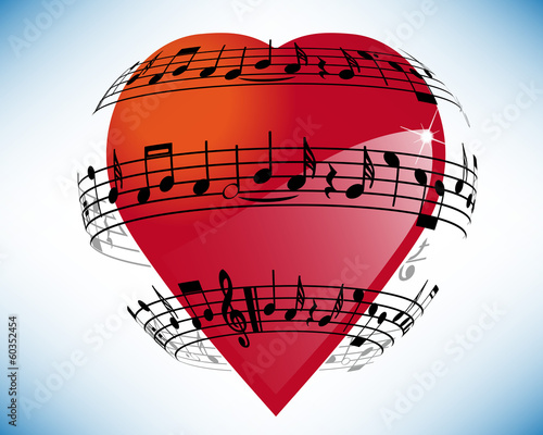 Heart surrounded by musical notes