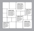rounded squares of white paper on grey - vector infographic bann