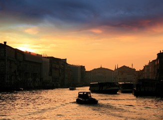 Sunset in the Grand Canal of Venice
