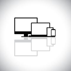 set of modern gadgets like laptop, computer, phone - vector grap