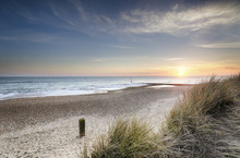Sonnenuntergang und Sanddünen
