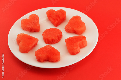 Hearts of watermelon on a plate