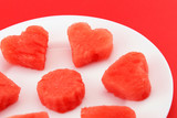 Sandia hearts on a plate - closeup