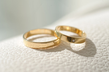 Rings on Leather Surface