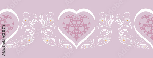 Lilac border with stylish hearts
