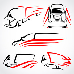 Trucks set. Vector