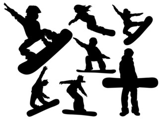 Vector set of winter sports snowboarding