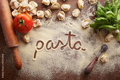 Pasta word written on table