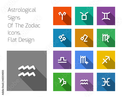 Zodiac Symbol icons on color background.