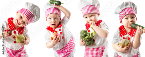 Collage of Baby cook girl wearing chef hat with fresh vegetables