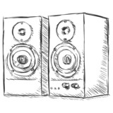vector sketch illustration - loudspeakers