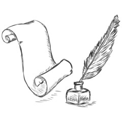 vector sketch illustration - scroll, pen and inkwell