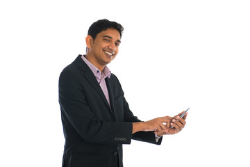 indian male business man surfing with phone with white backgroun