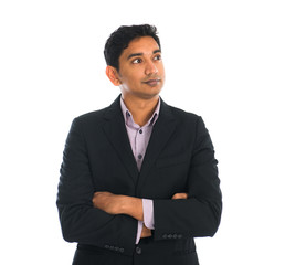 indian business male crossed arm with white background