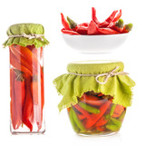 Collection of Glass jars of preserved red pepper