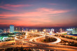 modern city interchange in nightfall