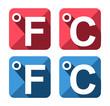 Celsius si Fahrenheit symbol icon set