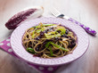 spaghetti with chicory and leek, selective focus