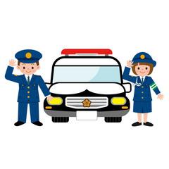 パトカーと警察の格好をした子供