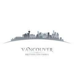 Vancouver British Columbia city skyline silhouette white backgro