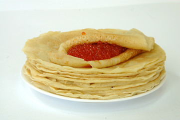 Pancakes whith red caviar