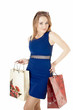 Shopping happy girl whis shopping gift bags, wearing dark blue d