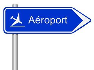Panneau direction aéroport