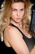 Beautiful blond caucasian woman with intense expression