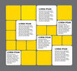 rounded squares of white & yellow paper - vector infographic ban