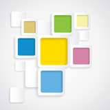 colorful background rounded squares with borders - vector graphi poster