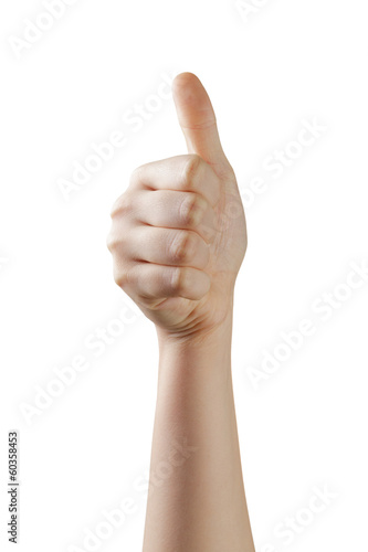 female teen hand thumb up