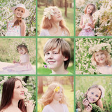 collage with spring portrait beautiful children