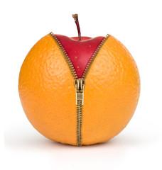 diet concept, apple inside orange