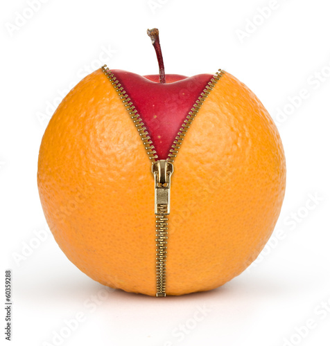 diet concept, apple inside orange